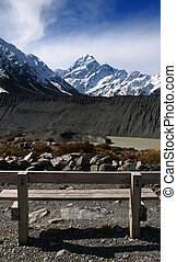 Mount Cook - Park Bench looking out to Mount Cook in New...