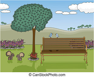 Park Bench Oasis - Vector art in Illustrator 8. A peaceful ...