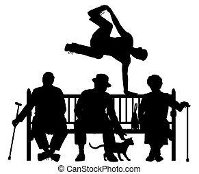 Park bench parkour - Editable vector silhouette of a young...