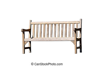 Timber park bench, isolated on white.