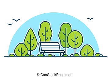 Park bench vector - Park bench among green trees, nature and...