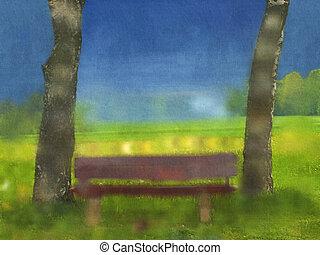 park bench water color canvas
