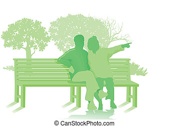 Park bench with two seniors