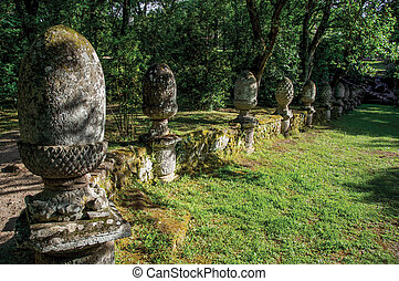 park, bomarzo., amidst, skulptur, vegetation, ansicht