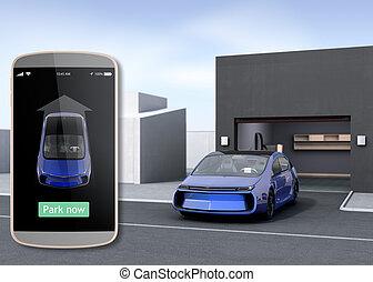 Park car by automatic parking app concept. 3D rendering ...