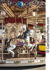 park., carrousel, amusement, cheval