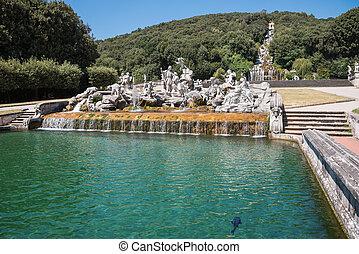 park, caserta, skulpturen, palast, königlich