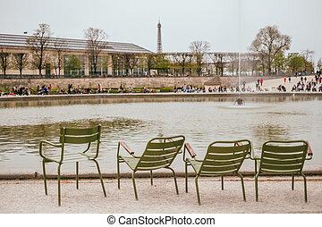 Park chairs in Tuileries Garden