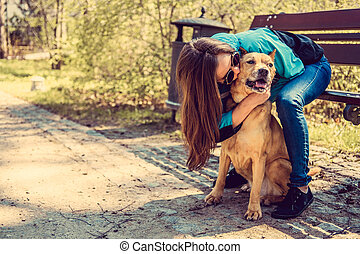 park., chien, femme
