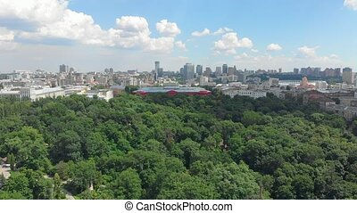 Park clouds cityscape aerial drone view