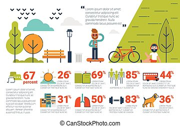 Park concept Infographic icons and elements - Illustration...