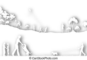 Park cutout - Editable vector cutout of a city park with...