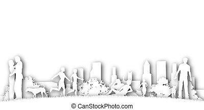 Park cutout - Illustrated design of cutout people in a city...