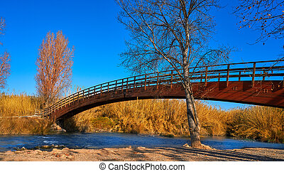 Park de Turia wooden bridge river Valencia