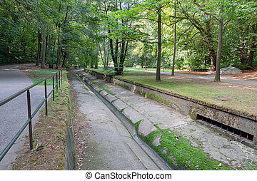 Park downtown Luxembourg city with footpath along Petrusse creek