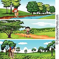 park, dzieci hiking