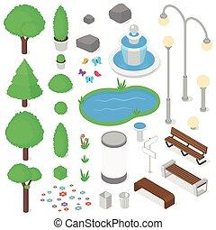 Park elements set. - Isolated park elements set. Isometric ...