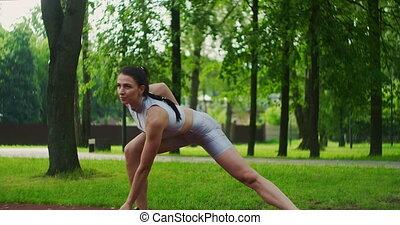 park., elle, femme, mouvements, sports, athlète, sauter, ...
