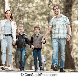 park., enfants, deux, famille, promenade