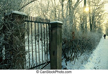 Park entrance gate on a winter day in Germany