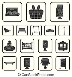 Park, equipment black icons in set collection for design....
