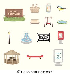 Park, equipment cartoon icons in set collection for design....