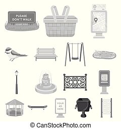 Park, equipment monochrome icons in set collection for...