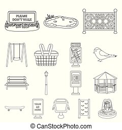 Park, equipment outline icons in set collection for design....