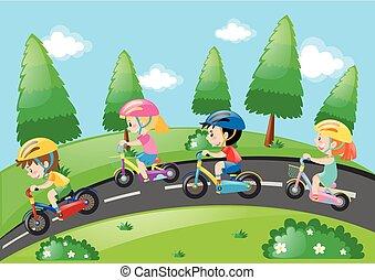 park, fiets, kinderen, paardrijden