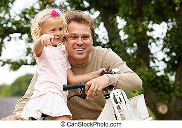 park, fiets, vrolijke , dochter, vader