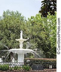 park, fontijn, groene