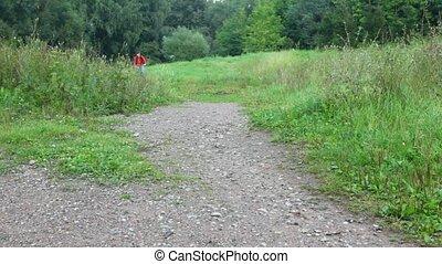 park, fototoestel, fiets, man, paardrijden
