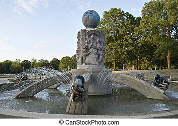 """The fountain titled """"Light Dispelling Darkness"""" was designed by sculptor Waylande Gregory in 1937 and erected in Roosevelt Park, Middlesex County NJ in 1938."""