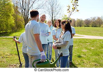 Park, freiwilligenarbeit, Gruppe, baum, Sämlinge