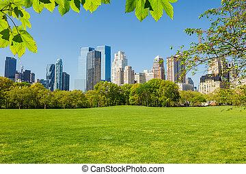 park, główny, york, nowy