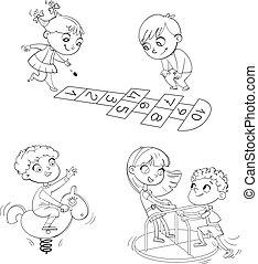 park., games., gosses, livre, zone., endroit, récréation, playground., coloration