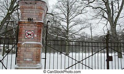 park gate locked people - locked closed retro steel park...