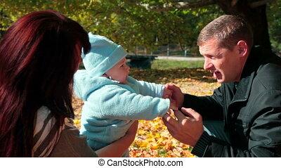 park, gezin, vrolijke