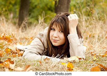 park., girl, automne
