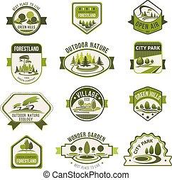 Park, green city garden, eco landscaping badge set