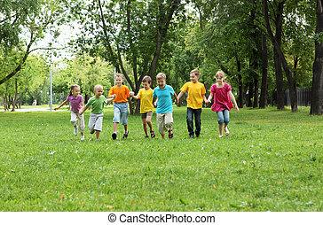 park, gruppe, kinder