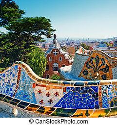 park, -, guell, barcelona, hiszpania