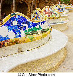 park Guell, Barcelona, Spain - famous bench in Parc Guell in...