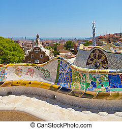 Park Guell by architect Gaudi in a summer day in Barcelona, ...