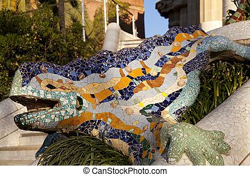 Park Guell - Dragon at the entrance to Parc Guell, designed ...