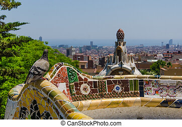 Park Guell in a summer day in Barcelona, by architect Gaudi...