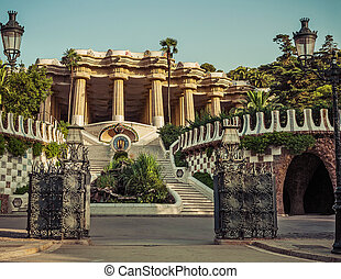 Park Guell in Barcelona. Catalonia, Spain - Park Guell ...