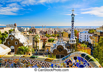 park, guell, w, barcelona, hiszpania