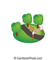 Park icon, isometric 3d style