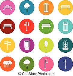 Park icons many colors set